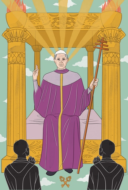 The Hierophant tarot card corresponds with fixed earth zodiac sign Taurus.
