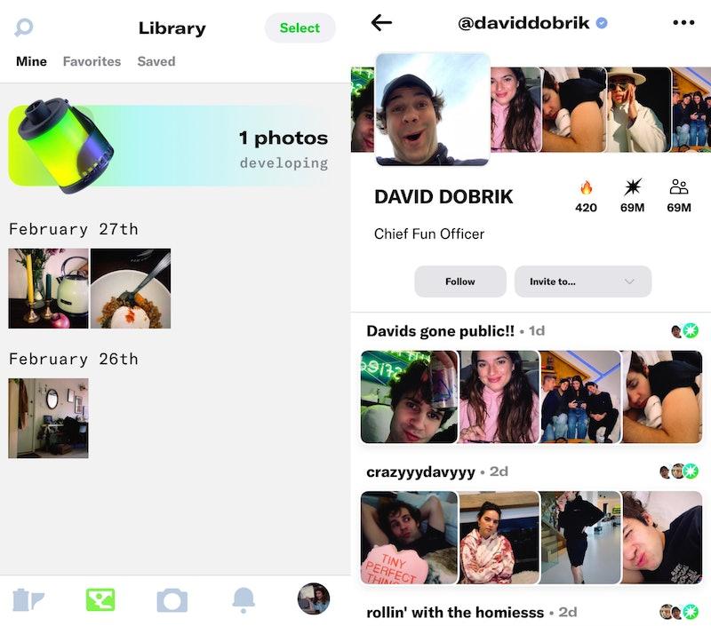 Screenshots of Dispo, a new photo sharing app.