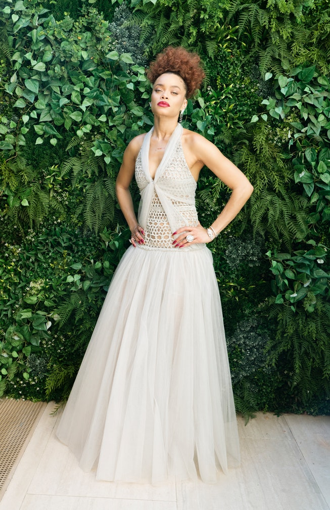 Andra Day in Chanel Haute Couture for the 2021 Golden Globes.