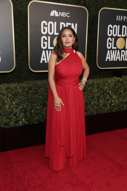 Salma Hayek Alexander McQueen at the 2021 Golden Globes.