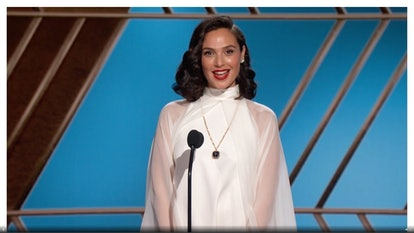 Gal Gadot's Golden Globes gown had sheer sleeves.