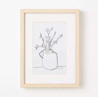 """12"""" x 16"""" Flower Pot Framed Wall Art Black/White"""