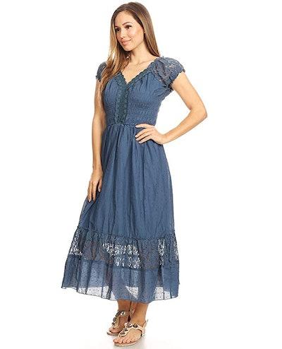Anna-Kaci Renaissance Boho Inspired Lace Trim Dress