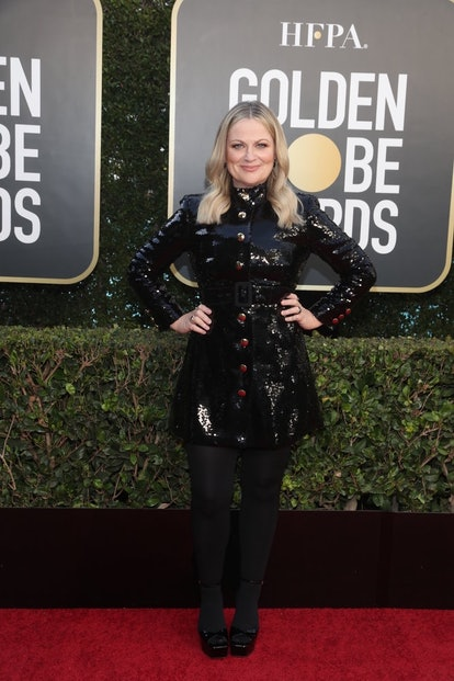 Amy Poehler in Moschino at the 2021 Golden Globes.
