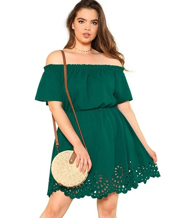 Romwe Plus Size Off The Shoulder Short Dress