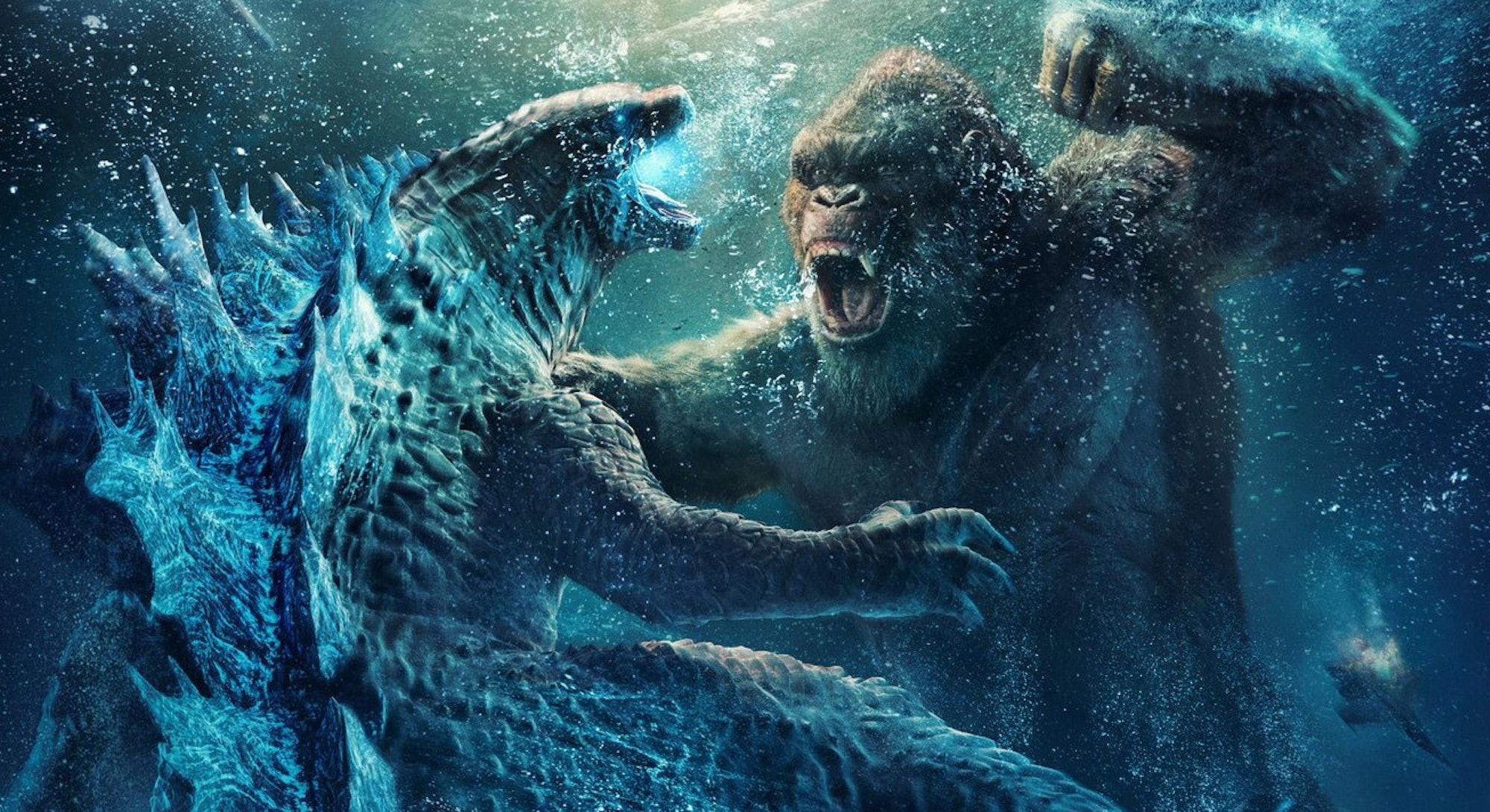 godzilla and king kong fighting underwater