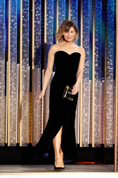 Renée Zellweger in custom Giorgio Armani Privé at the 2021 Golden Globes.