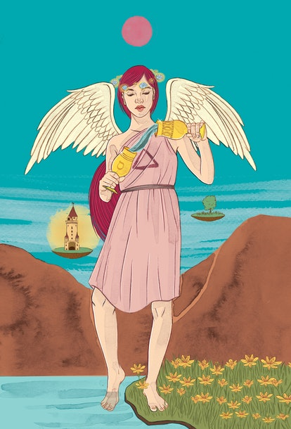 The Temperance tarot card corresponds with mutable fire zodiac sign Sagittarius.