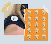 COVID-19 vaccination stickers.