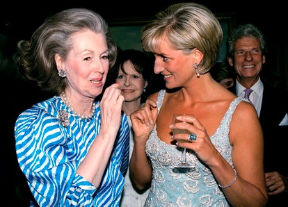 Princess Diana Talking With Raine, Comtesse De Chambrun (previously Her Stepmother, Countess Raine Spencer) At A Private Viewing And Reception At Christies Of Dresses Worn By The Princess That Are For Auction To Raise Money For The Aids Crisis Trust And The Royal Marsden Hospital Cancer Fund.