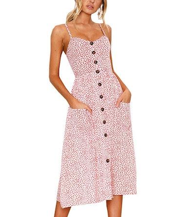 ECHOINE Floral Button Down Swing Dress