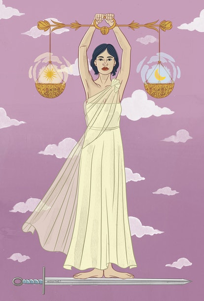 The Justice tarot card corresponds with cardinal air zodiac sign Libra.