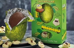 A chocolate egg in green foil with white caterpillar chocolates and a green-foil-wrapped egg in a green box