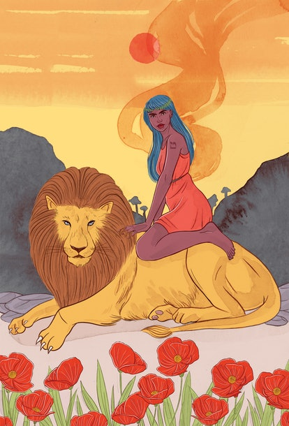 The Strength tarot card corresponds with fixed fire zodiac sign Leo.