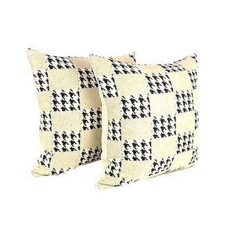 Mid Century Modern Classic Houndstooth & Checkered Pillow - a Pair