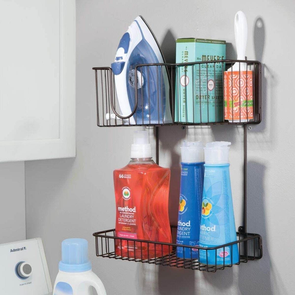 mDesign Metal Wire Laundry Room Organizer