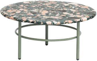 Small Lira Coffee Table, Green Terrazzo and Metal, Contemporary Mexican Design