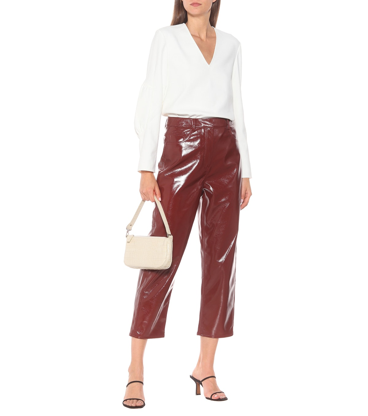 Faux Leather Cropped Pants