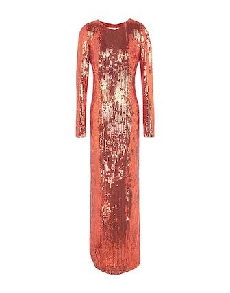 Long Sequin Dress in Orange