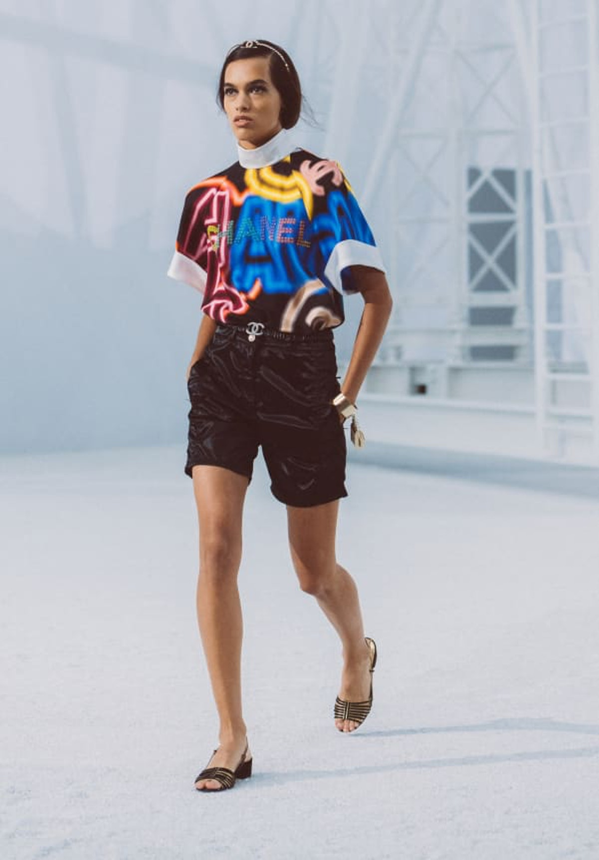 Embroidered Printed Silk Black & Multicolor Blouse