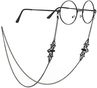 Pinksee Black Bat Glasses Chain