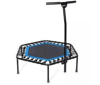 Quiet Miniature Indoor Rebounder Home Fitness Trampoline with Height Adjustable Bar