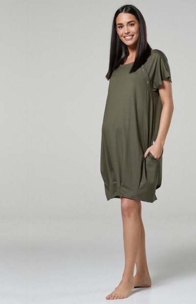 Hidden Stripe Labor & Nursing Gown in Olive