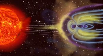 The Earth's magnetic field protects us from the most harmful portions of the sun's radiation.