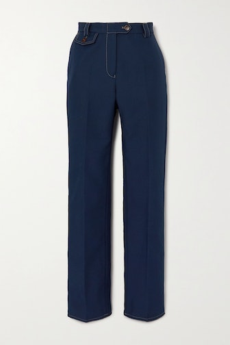 Isaacs Topstitched Twill Straight-Leg Pants