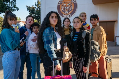 """Chloe East as """"Naomi,"""" Uly Schlesinger as """"Nathan,"""" Nathanya Alexander as """"Arianna,"""" Haley Sanchez as """"Greta,"""" Lukita Maxwell as """"Delilah,"""" Chase Sui Wonders as """"Riley,"""" Justice Smith as """"Chester,"""" Sydney Mae Diaz as """"J"""""""