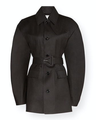 Water-Repellant Belted Cotton Trench Coat