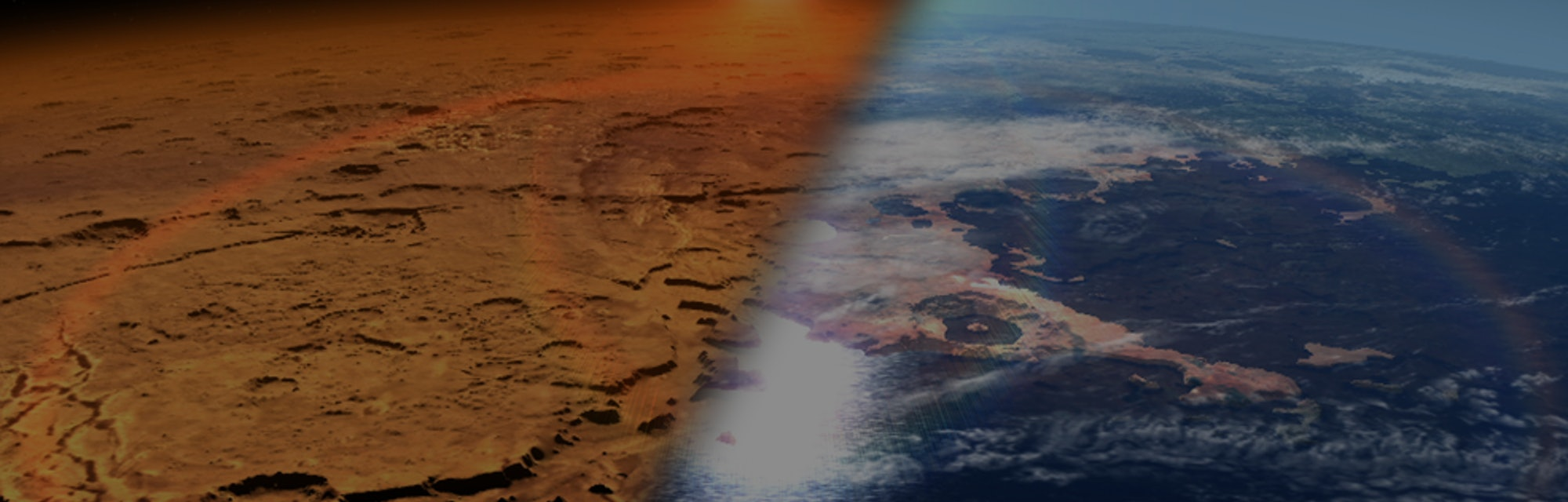 An illustration of two views of Mars: a desert world and its past as a watery world.