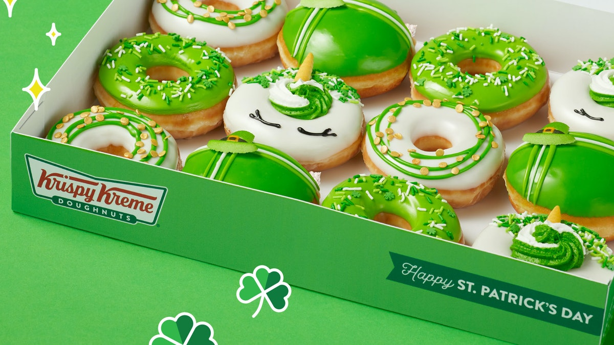 Krispy Kreme St. Patrick's Day 2021 doughnuts include a unicorn option and shamrocks.