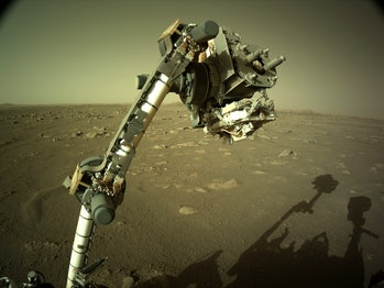 NASA's Mars Perseverance rover's Left Navigation Camera (Navcam) located high on the rover's mast.