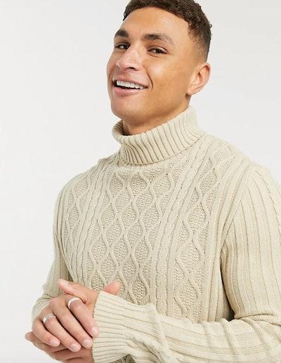ASOS DESIGN Cable Knit Roll Neck Jumper
