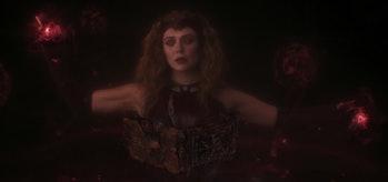 Elizabeth Olsen's Wanda Maximoff reading the Darkhold in the WandaVision finale