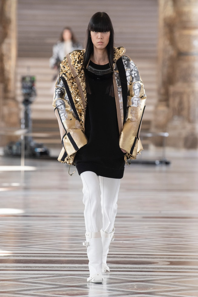 Model walks in Louis Vuitton Fall Winter 2021 presentation