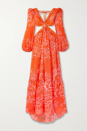 Orange Cutout Printed Maxi Dress
