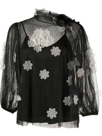 Sheer Flower-Applique Blouse