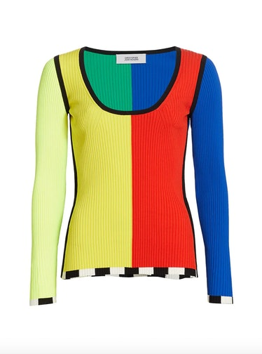 Colorblock Rib-Knit Sweater