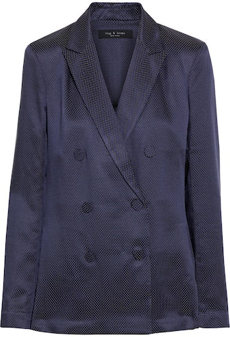 Nyx Double-Breasted Satin-Jacquard Blazer