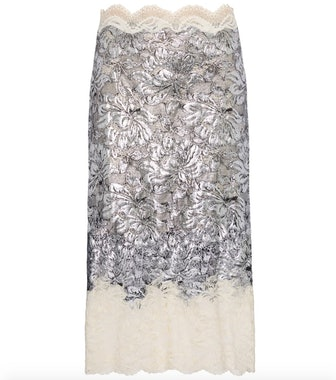 Silver Coated Lace Skirt