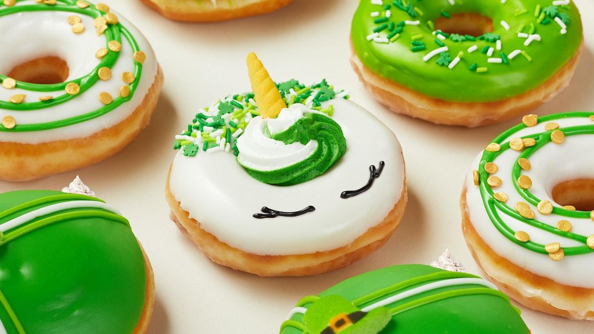 Krispy Kreme's St. Patrick's Day 2021 doughnuts include green-hued treats.