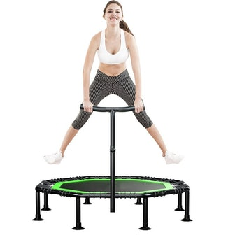 "51"" Foldable Octagon Indoor Fitness Trampoline with Handlebar"