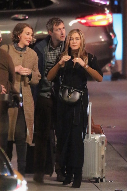 Jennifer Aniston and Reese Witherspoon work into the night on the set of 'The Morning Show' in Los Angeles.