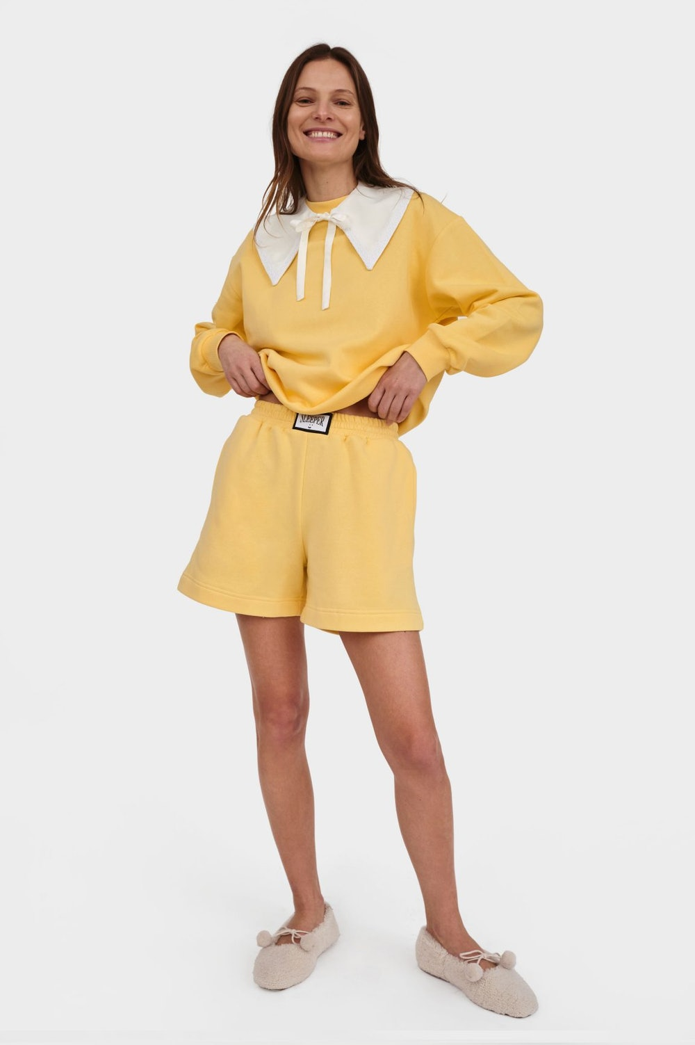 Diana Athpleasure Sweatsuit with Shorts in Yellow