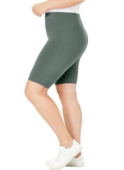 Woman Within Plus Size Cotton Biker Shorts