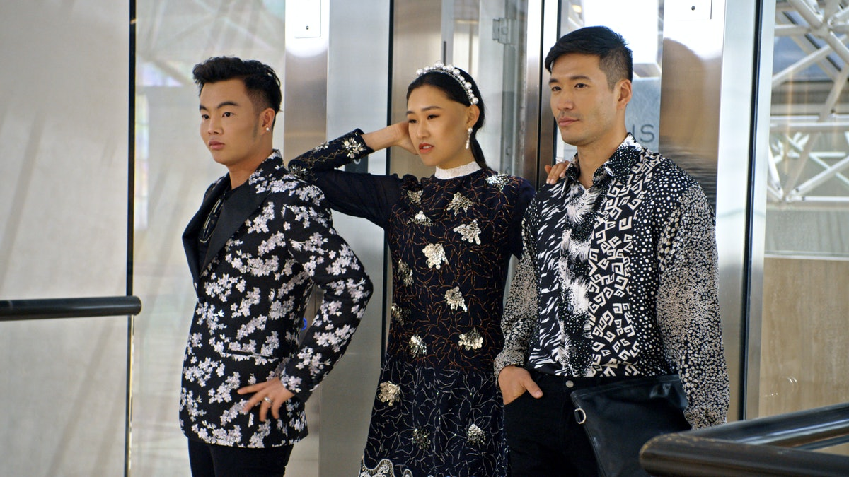 """Kane Lim, Jaime Xie, and Kevin Kreider in Episode 8 """"Will You Marry Me?"""" of 'Bling Empire' Season 1"""