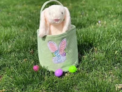 Embroidered Gingham Easter Basket