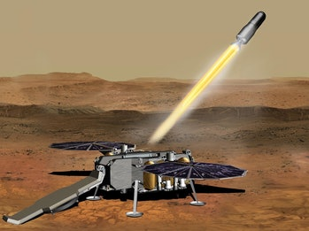 An illustration of the NASA Mars Ascent Vehicle that would be launched from the Martian surface, car...